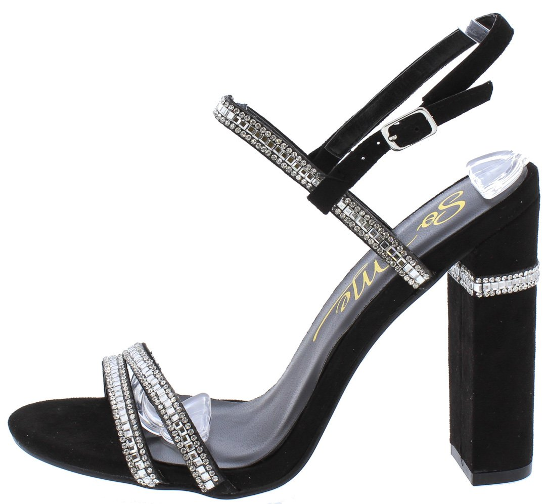 4d6b7c9bb528 Violet220 Black Open Toe Rhinestone Strap Chunky Heel - Wholesale Fashion  Shoes
