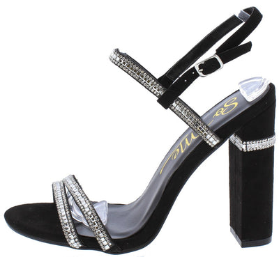 Violet220 Black Open Toe Rhinestone Strap Chunky Heel - Wholesale Fashion Shoes