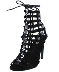 ALZA15 BLACK OPEN TOE CAGED LACE UP BOOT - Wholesale Fashion Shoes
