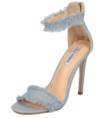 ALZA33 BLUE FRAYED DISTRESSED OPEN TOE STILETTO HEEL - Wholesale Fashion Shoes