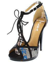 AMANDA01 BLUE PEEP TOE SPLIT LACE UP T-STRAP HEEL - Wholesale Fashion Shoes