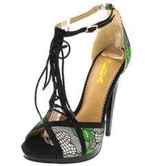 AMANDA01 GREEN PEEP TOE SPLIT LACE UP T-STRAP HEEL - Wholesale Fashion Shoes