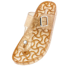 AMAR02 GOLD GLITTER JELLY WOMEN'S SANDAL - Wholesale Fashion Shoes