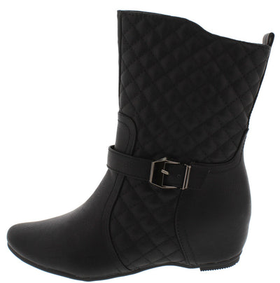 Amar75ef Black Pu Quilted Diamond Stitching Hidden Wedge Boot - Wholesale Fashion Shoes