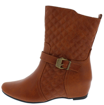 Amar75ef Cognac Pu Quilted Diamond Stitching Hidden Wedge Boot - Wholesale Fashion Shoes