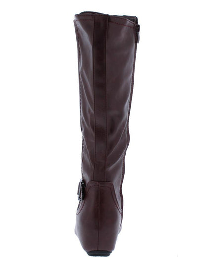 Amar92w Burgundy Pu Knee High Hidden Wedge Boot - Wholesale Fashion Shoes