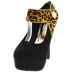 AMARILO LEOPARD BUTTON ANKLE STRAP HEEL - Wholesale Fashion Shoes