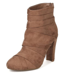 AMAYA09 TAUPE MULTI CRISSCROSS WRAP STRAP CHUNKY HEEL ANKLE BOOT - Wholesale Fashion Shoes