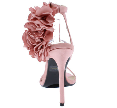 Amber01 Blush Satin Satin Flower Open Toe Ankle Strap Heel - Wholesale Fashion Shoes