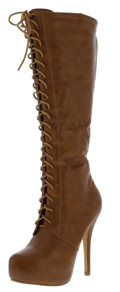 Amber04 Tan Lace Up Knee High Stiletto Boot - Wholesale Fashion Shoes