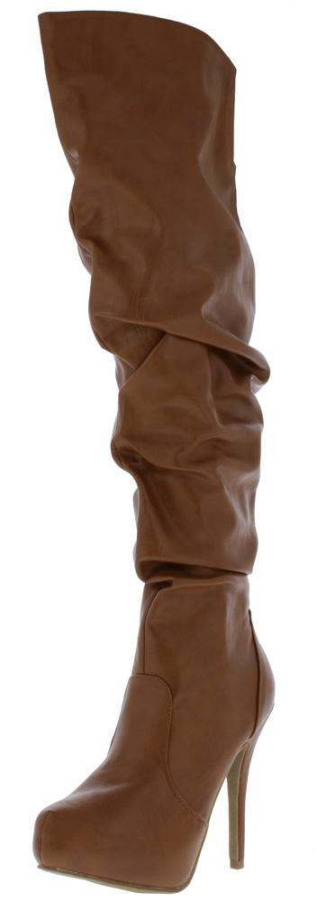 Amber06 Tan Over The Knee Stiletto Boot - Wholesale Fashion Shoes