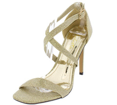 AMELIA01 GOLD GLITTER OPEN TOE CRISSCROSS HEEL - Wholesale Fashion Shoes