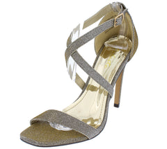 AMELIA01 PEWTER GLITTER HOLOGRAPHIC OPEN TOE CRISSCROSS HEEL - Wholesale Fashion Shoes