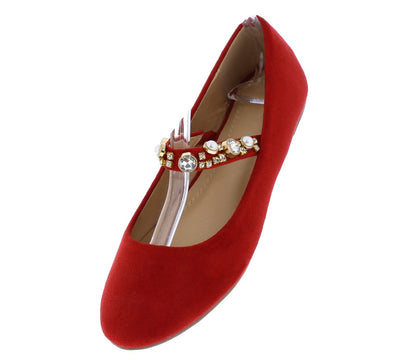 Lucy065 Red Pearl Rhinestone Strap Mary Jane Ballet Flat - Wholesale Fashion Shoes