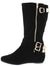 Britney017 Black Multi Buckle Side Zip Boot