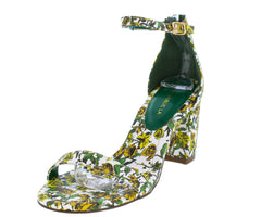 AMINA GREEN STRAPPY FLORAL PRINT WOMEN'S HEEL - Wholesale Fashion Shoes