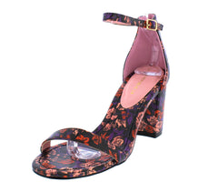 AMINA RED STRAPPY FLORAL PRINT WOMEN'S HEEL - Wholesale Fashion Shoes