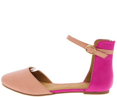 Opal Fuchsia D'orsay Almond Toe Two Tone Flat - Wholesale Fashion Shoes