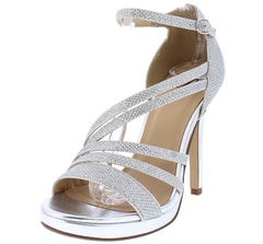 AMORET SILVER SPARKLE CHROME STRAPPY HEEL - Wholesale Fashion Shoes