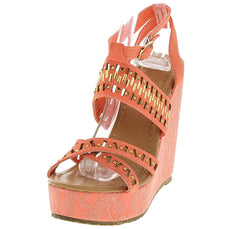 ANABEL04 CORAL EMBELLISHED LACE WEDGE - Wholesale Fashion Shoes