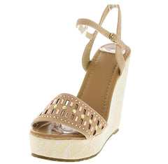 ANABEL07 NUDE RHINESTONE LACE WEDGE - Wholesale Fashion Shoes