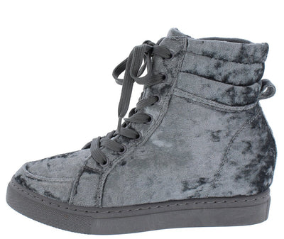 Anchora01s Grey Velvet Lace Up High Top Sneaker Boot - Wholesale Fashion Shoes