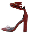 Maribel045 Red Lucite Open Toe Ankle Wrap Strap Block Heel - Wholesale Fashion Shoes