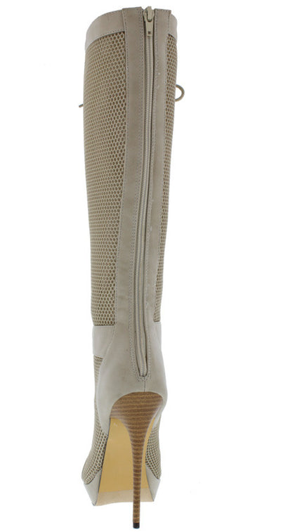 Riley11 Grey Dual Material Lace Up Knee High Boot - Wholesale Fashion Shoes