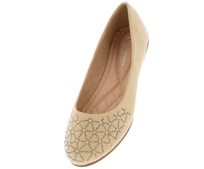 Andy34 Beige Studded Toe Ballet Flat - Wholesale Fashion Shoes