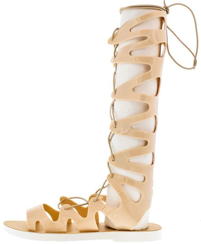 7a7cc33214f4 Ane2 Nude Jelly Lace Up Gladiator Boots From  12.88 -  27.88 ...