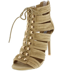 ANES1 NUDE OPEN TOE LACE UP MULTI RUCHED STRAP HEEL - Wholesale Fashion Shoes