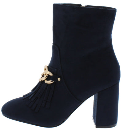 Anesha6 Navy Fringe Chain Almond Toe Ankle Boot - Wholesale Fashion Shoes