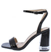 Angelena8 Black Open Toe Ankle Strap Lucite Block Heel - Wholesale Fashion Shoes