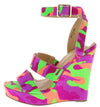 Angeta6 Camo Dual Strap Open Toe Ankle Strap Wedge - Wholesale Fashion Shoes