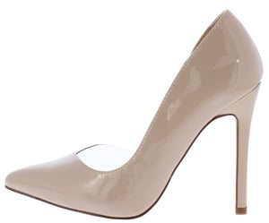 cca3b8b9575 Aria238 Nude Pointed Toe Lucite Half Dorsay Stiletto Heel - Wholesale Fashion  Shoes