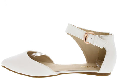Angie33 White Pointed Toe Ankle Strap Flat - Wholesale Fashion Shoes