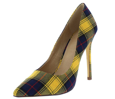 Skyler132 Yellow Plaid Pointed Toe Stiletto Pump Heel - Wholesale Fashion Shoes