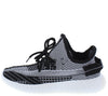 Anki8 Black Multi Knit Lace Up Tapered Sneaker Flat - Wholesale Fashion Shoes