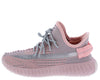 Anki8 Pink Multi Knit Lace Up Tapered Sneaker Flat - Wholesale Fashion Shoes