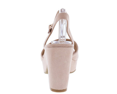 Anna02 Blush Cross Band T Strap Chunky Platform Heel - Wholesale Fashion Shoes
