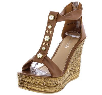 Anna03 Tan Pearl T Strap Open Toe Textured Platform Wedge - Wholesale Fashion Shoes