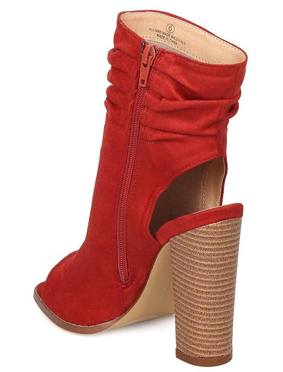 Violet239 Cinnamon Slouchy Peep Toe Cut Out Ankle Boot - Wholesale Fashion Shoes