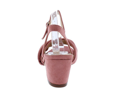 Julia036 Mauve Knotted Open Toe Short Chunky Heel - Wholesale Fashion Shoes