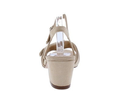 Julia036 Nude Knotted Open Toe Short Chunky Heel - Wholesale Fashion Shoes