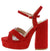 Antonie1 Red Cross Strap Open Toe Chunky Platform Heel