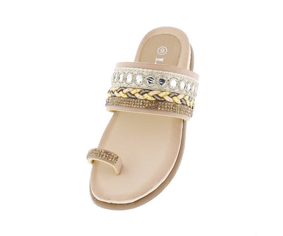 Anya4k Taupe Kids Beaded Braided Slide on Toe Strap Sandal - Wholesale Fashion Shoes
