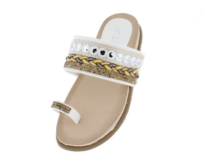 Anya4k White Beaded Braided Slide on Toe Strap Kids Sandal - Wholesale Fashion Shoes