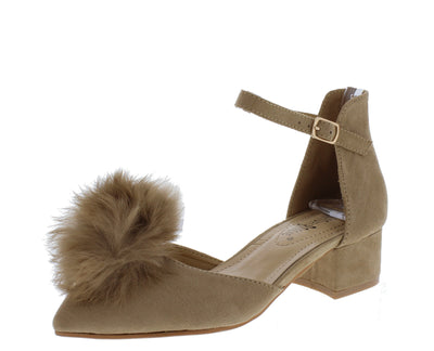 Apex02 Camel Pom Pom Pointed Toe Ankle Strap Short Heel - Wholesale Fashion Shoes