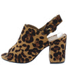 Appetite69 Leopard Peep Toe Slingback Chunky Heel - Wholesale Fashion Shoes