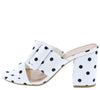 Appetite73 White Black Open Toe Buckle Strap Block Heel - Wholesale Fashion Shoes